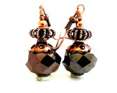 Chocolate Brown Earrings, Brown Copper Glass Beaded Earrings, Vintage Inspired, Fall Autumn