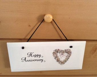 Happy Anniversay Ceramic Plaque  it is 4 1/4 by 10