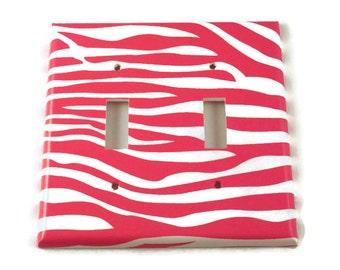 Double  Light Switchplates  Switchplate Switch Plate in Funky  Zebra Hot Pink  (095D)