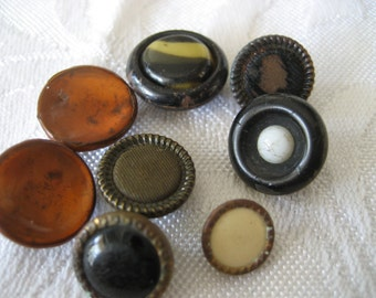 Lot of 8 ANTIQUE VINTAGE Small Celluloid Fabric & Glass BUTTONS