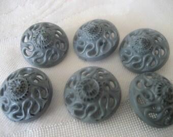 Set of 6 VINTAGE Pierced Blue Gray Plastic BUTTONS
