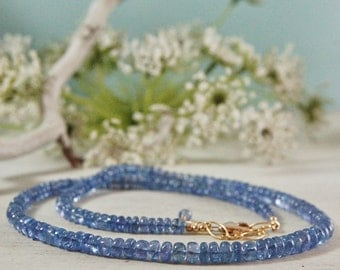Natural Tanzanite Necklace Choker 14ktGF Gold Filled Periwinkle