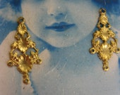 Raw Brass Floral Earring Stamping Connector Drops 497RAW x2