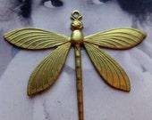 Raw Brass LARGE Dragonfly Pendant 2212RAW x1