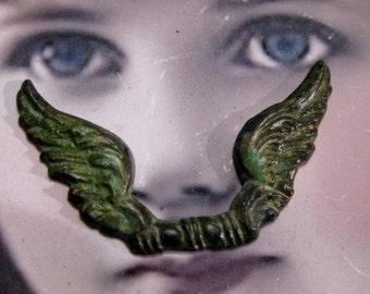 Verdigris Patina Brass Angels Wings 354VER x2