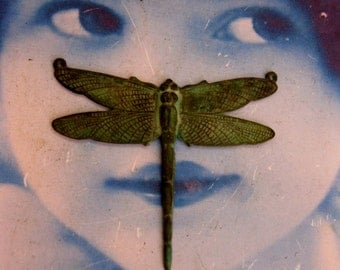 Verdigris Patina Large Dragonfly Stamping with 2 Top Rings 212VER x1