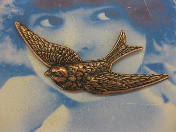 Copper Ox Plated Large Bird in Flight Stamping Pendant 696COP x1