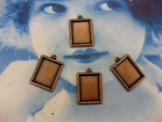 Copper Ox Plated Fancy Rectangle  Bezel Charms 189COP x4