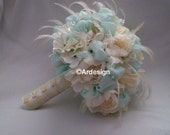 CRYSTAL MINT Wedding Silk Flowers,Fabric & Feather Bouquet