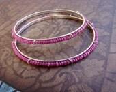 READY TO SHIP - Sale - Pink and Silver Bangle Bracelets - Set of 2 - Bella Mia Beads