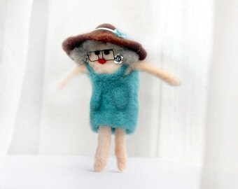 Very fancy lady decorative doll - needle felted human doll