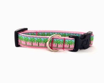"Medium ""The Pink Palm"" Couture Dog Collar"