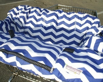 Boutique Shopping Cart cover or restaurant high chair cover for boy or girl.....Large Chevron in Royal Blue