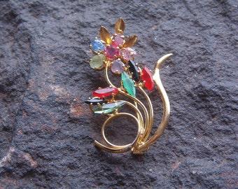 Brooch, Pin, Fashion Pin, Vintage Gem Floral Brooch Pin