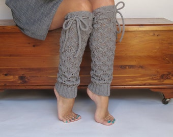 Leg Warmers Grey Sky Lace Merino Wool with ties hand knit Women