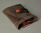 Brown recycled leather wallet with orange button