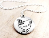 Silver chicken necklace, chicken jewelry,  hen necklace, gift for her, coworker gift, gift for mom