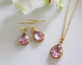 Reserved for Stephanie - 7 Blush Pink Teardrop Earrings Necklace Set Glass, 14k Gold Fill Bridal Earrings, Jewelry Set, Bridesmaid Jewelry