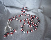 Patriotic 1970's Necklace -  Red White Blue Plastic Beads