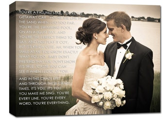 Gift Just Married Canvas Portrait and Word Art Wedding, Engagement Photo and Words, Vows,12x16