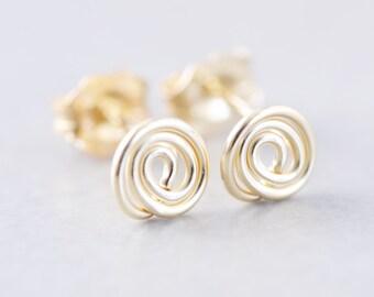 Gold Circle Posts,  Silver Swirl Studs, Metal Studs