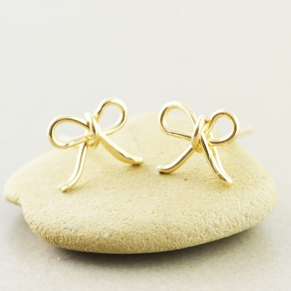 bow studs gold bow earrings bow posts bridesmaid gift