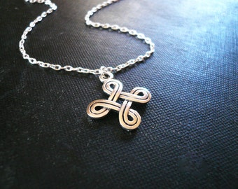 Saint John's Arms Necklace in Sterling Silver - Bowen Knot Necklace - Finnish Hannunvaakuna and Swedish Looped Square, Ancient Symbol