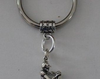 Sterling BASEBALL BATTER  Key Ring, Key Chain - Sports