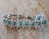 Genuine Turquoise and Moonstone, Sterling Silver Bracelet, Cavalier Creations