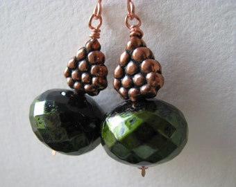 Copper Earrings, Forest Green and Antique Copper Earrings