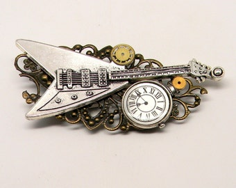 Steampunk large giutar with watch and gears brooch. Steampunk jewelry.