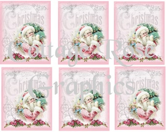 Pink Santa Christmas greeting card sheet Large digital download 3.5 x 4 inches ECS buy 3 get one free