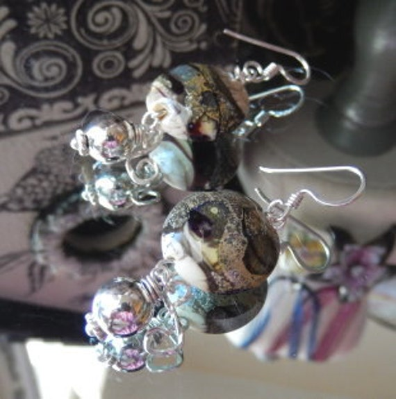 SALE.....One of a Kind Sterling Silver and Lampwork Glass Earrings