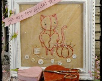 Kitty cat Sew embroidery PDF Pattern - stitchery pincushion tomato banner vintage like heart primitive