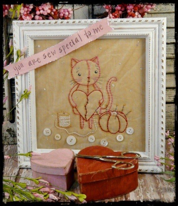 Kitty cat Sew embroidery PDF Pattern - stitchery Valentine 2014 pincushion tomato banner vintage like heart primitive