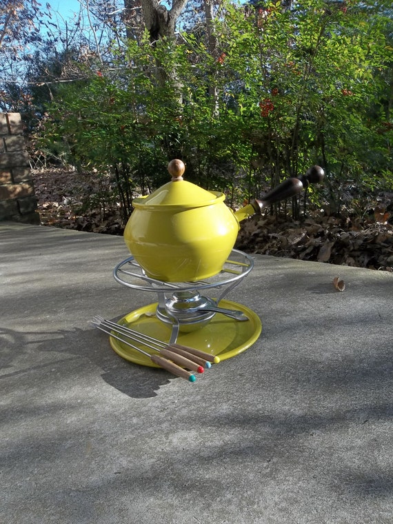 Vintage 1960's Fondue Set Mid Century Modern Pot Stand Burner Complete New Atomic Age Yellow