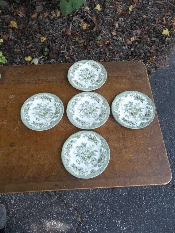 Vintage Green Transferware Dishes WDEGEWOOD KENT English Dinnerware Cake Plates Dessert Dishes French Country Farmhouse Prairie Set of 5