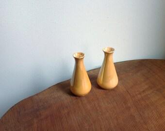 Vintage Peach Luster Bud Vase Pair.