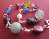multi gem bracelet with sterling wirework