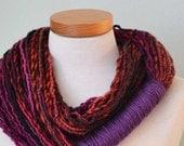 Infinity loop scarf. Black, reds, pinks and purple G668