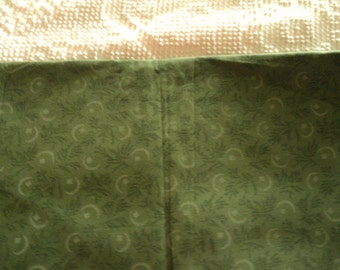 Cotton Quilt Fabric  Light Green Ferns on Olive Green Background
