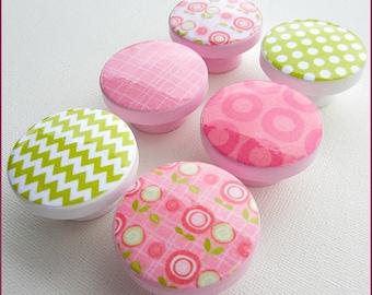 Flower Knobs • Chevron Knobs • Drawer Pulls • Pink Flower • Lime Polka Dot • Chevron Knobs