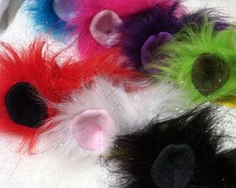 Glitter Faux Fur Plushie Fantasy Creature Ears Snap Hair Clip You Choose