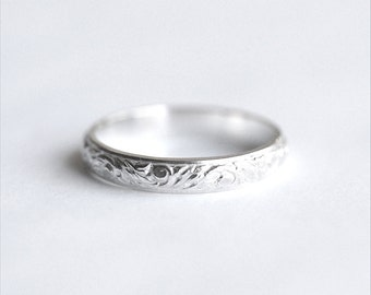 Silver Engravable Band Ring (3.5 mm wide silver band) In Your Size