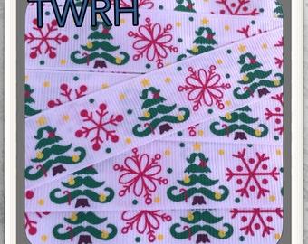 """MTMG Mustache Trees on white grosgrain ribbon 5 yards 7/8"""""""