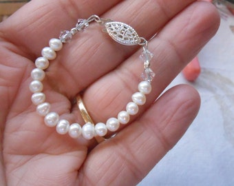 Baby Bracelet White Freshwater Pearl and Sterling silver