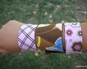 Snap On Wrist Cuffs Fabric Bracelet Matching Set of Three Pink and Brown Lattice and Blossoms