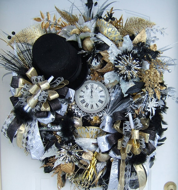 Xl New Years Wreath 2018 Custom Order Choose Your Colors