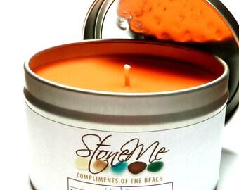 Soy Treasure Candle UNAKITE Hidden Beach Stone Bead Gem Orange Chili Pepper Scented Drilled Pebble Charm 8 oz. Tin