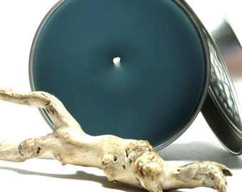 Hidden Beach Pebble in Soy Candle Jewelry Bead Jewel Candle Tin & Drilled Stone Organic Charm Eco Friendly DRIFTWOOD